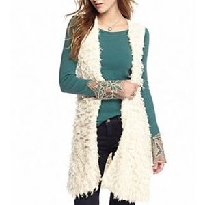 Free People Rolling Stone Furry Vest Maxi Cardigan